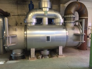 The condenser are used to condensate superheated steam of 400°C